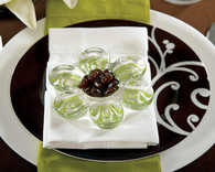 Wedding Favors - Weddingstar Glass Flower Holders Pink or Green Highlights. Candle Wedding Favors to make your day special.