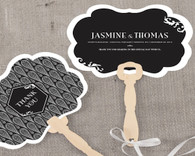Personalized Wedding Favors - Weddingstar Black and Gold Opulence Personalized Hand Fan. Hand Fans to make your guests cool and in style.