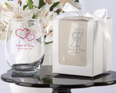 Bridal Shower Favors, Wedding Favors Canada - Kate Aspen Personalized Stemless Wine Glass
