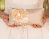 Weddings - Weddingstar Burlap Chic Ring Pillow Mocha Mousse