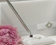 Wedding Table Decorations - Weddingstar Pure Elegance in Wedding White Satin Wrapped Pen Set