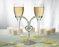 Wedding Decorations - Weddingstar Glass Flutes With Silver Stand Wedding Champagne Glasses