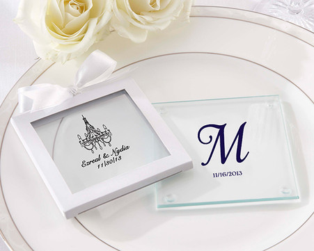 Wedding Favours - Personalized Glass Coasters (Set of 12)