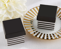 Wedding Favor Boxes - Classic Black and White Striped Favor Box (Set of 24)