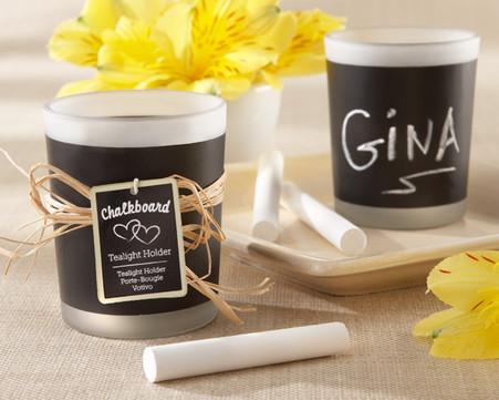 "Wedding Favors - ""Chalkboard"" Frosted-Glass Tealight Holder (Set of 4)"