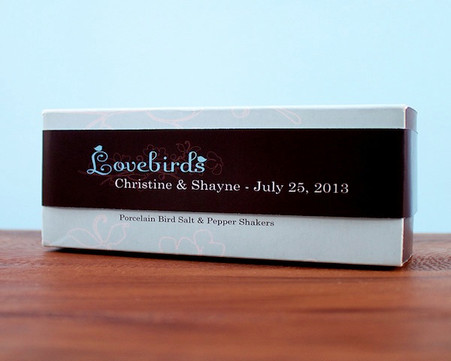 Wedding Favors Canada - Weddingstar Love Birds Paper Ribbon Wrap With Die-cut Bird Sticker. Sold with the Love Bird Salt and Pepper Shakers.