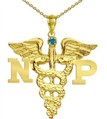 NP Necklace Nurse Practitioner graduation gifts and jewelry silver 14K gold.  Nursing school pinning ceremony award recognition.