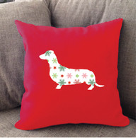 Righteous Hound - Red Holiday Dachshund Pillow