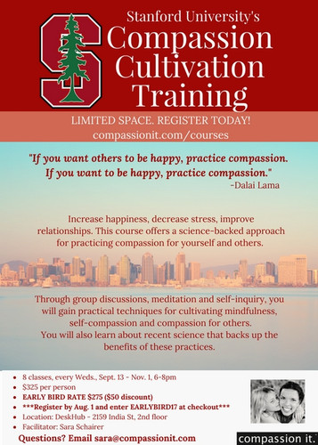 Compassion Cultivation Training 8 Wednesdays, Sept 13-Nov 1, 2017 Facilitator: Sara Schairer