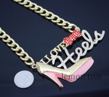 "Iced Out Chain Necklace ""I Love Heels"""