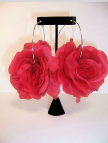 Big Red Rose Hoop Earrings