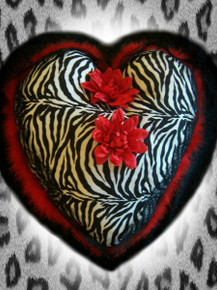 Big Decrative Zebra Heart Pillow