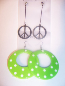 Green Polka Dot/Peace, Earring Set