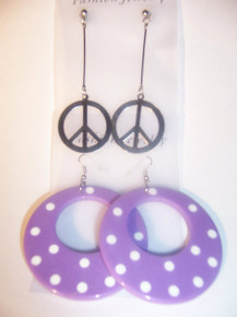 Purple Polka Dot/Peace, Earring Set