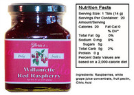 Willamette Red Raspberry Jam by Gloria's Gourmet (12 oz jar )