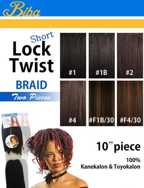 "10"" Biba Short Lock Twist Braid 2 Pieces Synthetic HAIR"