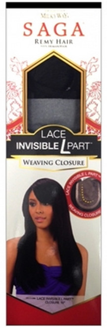Saga Remy Human Hair Lace Invisible L Part Weaving Closure- 12""