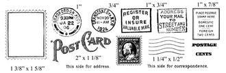 "Postage Stamp 1 3/8"" x 1 5/8""  Grand Central Station Postmark 3/4""  Postcard 2"" x 1 18""  Register or Insure 1"" x 3/4"""