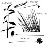 """Leaf stalk 1 1/2"""" x 3/8""""  Grass 2 1/8"""" x 2 1/4"""""""