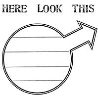 "Circle Arrow 2 3/4"" x 2 1/8"" HERE 3/4"" x 1/4"""