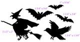 "Witch 2 1/2"" x 2"" Bird 1 3/4"" x 1 3/8"" Smallest bat 1"" x 5/16"""