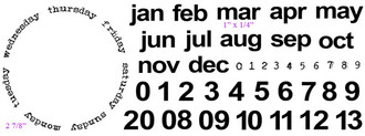"""Days of the week ring (2 7/8"""")  mar (1"""" x 1/4"""")"""