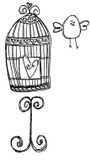 """Cage (1 1/2"""" x 3"""")  Bird (1 1/4"""" x 1 1/8"""")"""