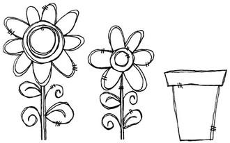 """Large Flower (2 1/8"""" x 3 7/8"""") Small Flower (1 5/8"""" x 2 3/4"""") Flower Pot (1 1/2"""" x 1 3/4"""")"""