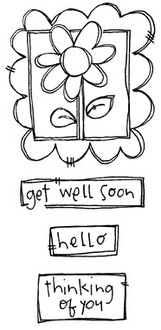 "Framed Flower (2 3/8"" x 2 5/8"")  Get Well Soon (2"" x 1/2"")  Thinking of You (1 3/8"" x 7/8"")"