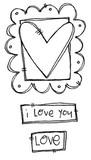 "Framed Heart (2 1/4"" x 1 1/2"")  Love (1"" x 5/8"")"