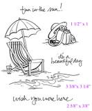"""Beach Bag (1 1/2"""" x 1"""")  Beach Chair (3 3/8"""" x 3 1/4"""")  Wish You Were Here (2 5/8"""" x 3/8"""")"""