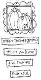 "Framed Pumpkins (2 3/8"" x 2 3/8"")  Thankful (1 1/2"" x 1/2"")"
