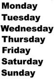 "Wednesday (2 1/2"" x 1/2"")  Friday (1 3/8"" x 1/2"")"