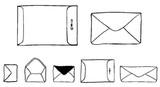 "Large manila clasp envelope (1 1/2"" x 1"")  Small open flap envelope (1/2"" x 5/8"")"