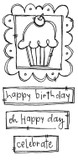 "Framed Cupcake (2 1/4"" x 1 1/2"")  Happy Birthday (2 3/8' x 5/8"")  Celebrate (1 1/2"" x 1/2"")"