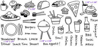 """Full Set 8 1/4"""" x 4""""      Sandwich (1"""" x 5/8"""")     Burger and Drink (1 1/2"""" x 1 3/8"""")     BBQ (1 1/8"""" x 1 3/4"""")     Breakfast (1 1/4"""" x 1/4"""")"""