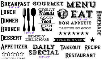 """The full set is 8 1/4"""" x 4 3/4""""      Breakfast (2 3/8"""" x 1/2"""")     EAT (1 7/8"""" x 5/8"""")     Silverware (1 1/8"""" x 2"""")     DAILY SPECIAL (2 1/2"""" x 7/8"""")"""