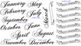 "July (1 5/8"" x 7/8"") September (2 3/4"" x 7/8"") December (2 3/4"" x 1/2"") Twenty Thirteen Banner (2 1/2"" x 1/2"")"