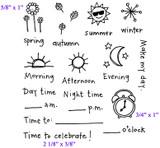 "Full Set (4 1/4"" x 4 3/4')      Flowers (5/8"" x 1""0     Clock (3/4"" x 1"")     Time to Celebrate! (2 1/8"" x 3/8"")"