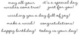 """may all your wishes come true!  (2 5/8"""" x 1/2"""")  it's a special day just for you!  (2 5/8"""" x 5/8"""")  wishing you a day full of joy!  (4 1/2"""" x 3/8"""")  make a wish!  (2"""" x 3/8"""")  congratulations!  (2 3/8"""" x 3/8"""")  happy birthday! (2 1/8"""" x 3/8"""")  today is your day! (2 3/4"""" x 3/8"""")"""