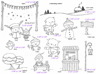 For a limited time purchase the entire A Charming Winter Collection all 16 stamps plus 3 sentiments (warm wishes, wishing you all a wonderful holiday season and merry & bright).