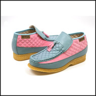 British Collection Men's Prince Slip On Leather Shoes Pink/Blue