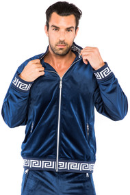 Regular Fit Full-zip Velvet Greek Key Detail Print Jogger Set Prices are exclusive to online sales only.