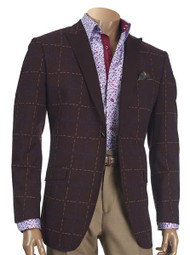 INSERCH SINGLE-BUTTON JACQUARD BLAZER WITH CONTRAST PEAK LAPEL. Prices are exclusive to online sales.