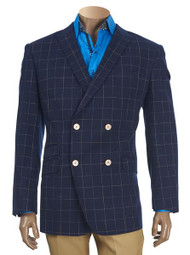 INSERCH NAVY CHECK DOUBLE-BREASTED BLAZER. Prices are exclusive to online sales.