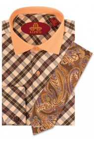 RL255D BROWN/PEACH. Robert Lewis Uptown Dress Shirts 100% Cotton Contrast Spread Collar Button Placket French Cuff. Tie not included.