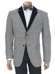 INSERCH CHECK PATTERNED SMOKING JACKET WITH VELVET LAPEL. Prices are exclusive to online sales.