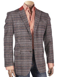 CHECK PATTERNED 2-BUTTON BLAZER WITH SUEDE TRIM ON COLLAR.  Prices are exclusive to  online sales.