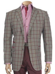 PLAID JACKET WITH SUEDE TRIM BURGUNDY. Prices are exclusive to online sales.