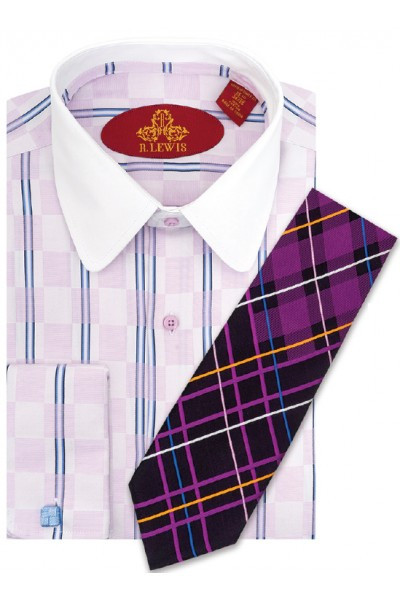 RL250D LAVENDER. Robert Lewis Uptown Dress Shirts 100% Cotton Contrast Spread Collar Button Placket French Cuff. Tie not included.